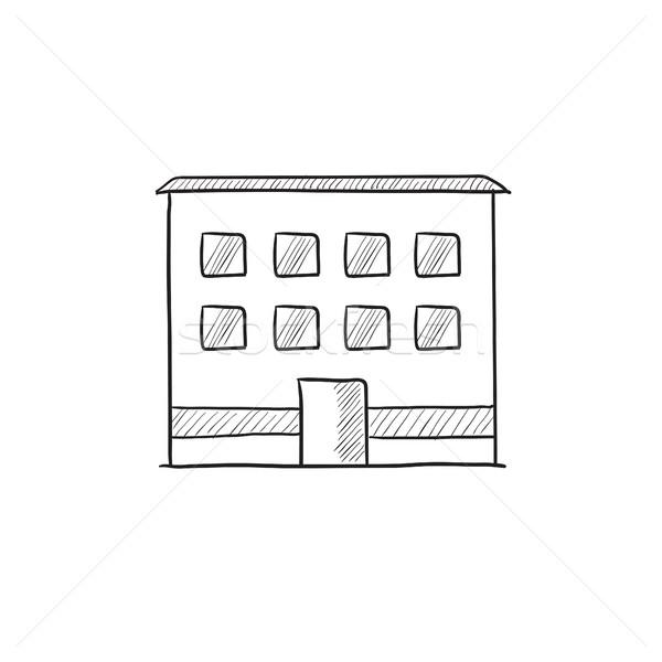 Foto stock: Prédio · comercial · esboço · ícone · vetor · isolado