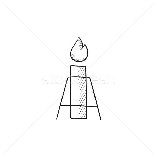 Gaz parlama kroki ikon vektör yalıtılmış Stok fotoğraf © RAStudio