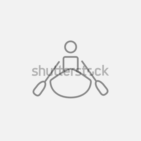 Homem caiaque esboço ícone vetor isolado Foto stock © RAStudio