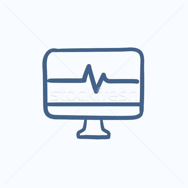 Bicie serca monitor szkic ikona wektora odizolowany Zdjęcia stock © RAStudio