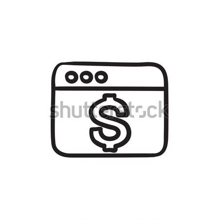 Böngésző ablak dollárjel rajz ikon vektor Stock fotó © RAStudio