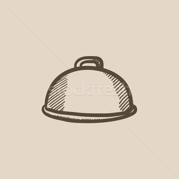 ストックフォト: レストラン · スケッチ · アイコン · ベクトル · 孤立した · 手描き