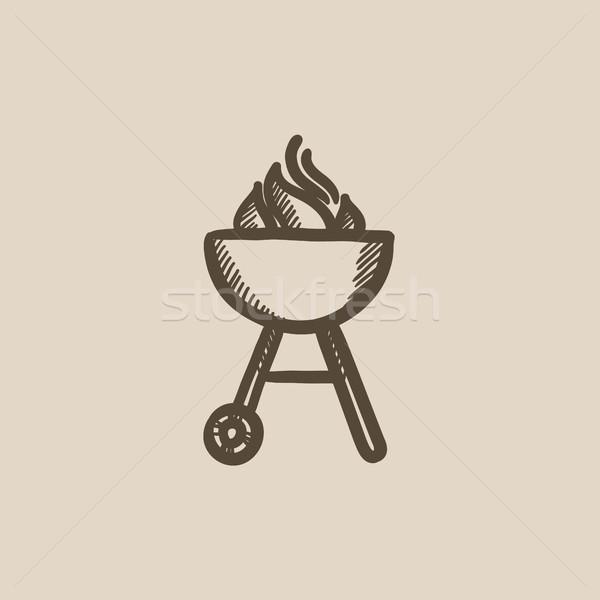 Stockfoto: Ketel · barbecue · schets · icon · vector · geïsoleerd