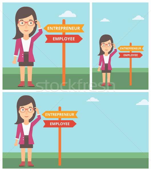 Confused woman choosing career pathway. Stock photo © RAStudio