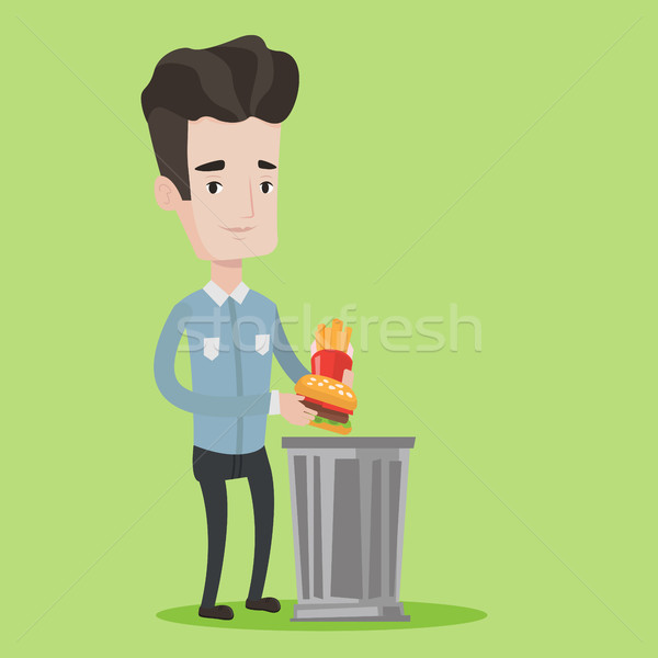 Man throwing junk food vector illustration. Stock photo © RAStudio