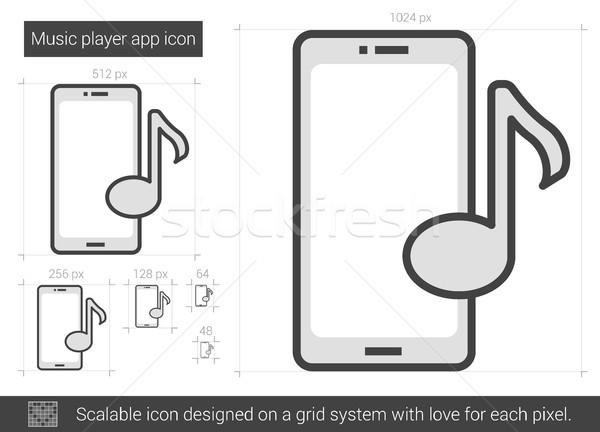 Zenelejátszó app vonal ikon vektor izolált Stock fotó © RAStudio