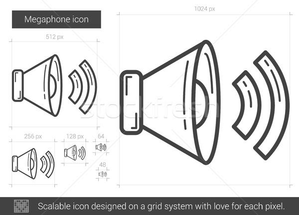Сток-фото: мегафон · линия · икона · вектора · изолированный · белый
