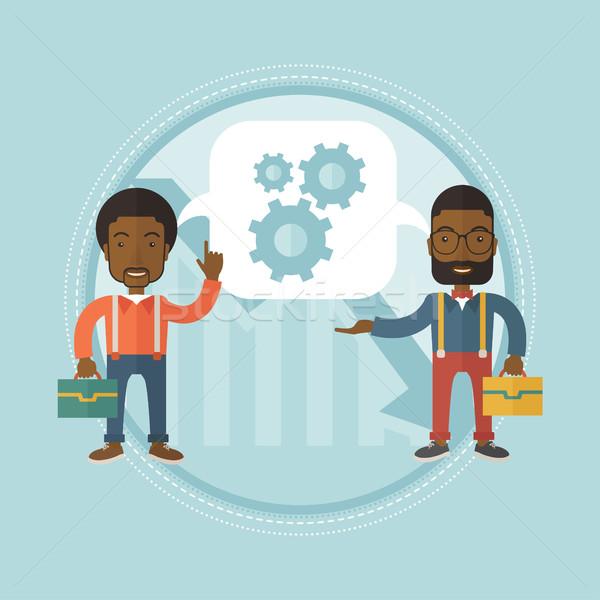 Finansal kriz iki Afrika işadamları fikirler Stok fotoğraf © RAStudio