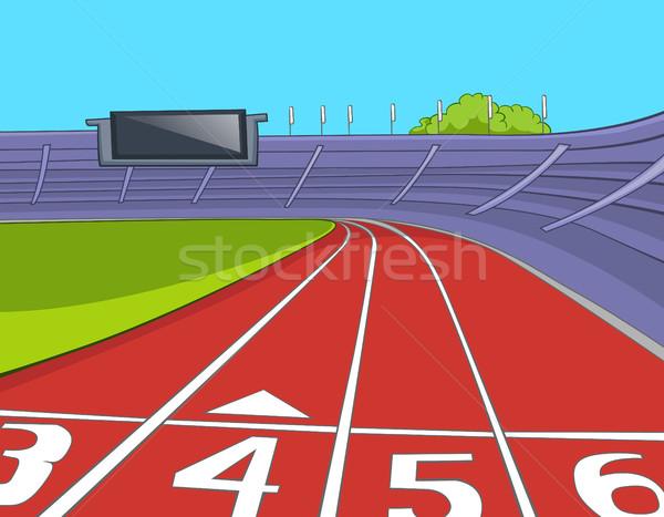 Cartoon стадион работает рисованной спорт Сток-фото © RAStudio