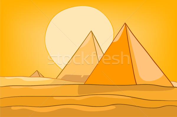 ストックフォト: 漫画 · 砂漠 · 風景 · 手描き · カラフル · 背景