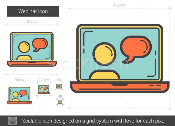 Webinar lijn icon vector geïsoleerd witte Stockfoto © RAStudio