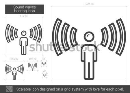 Sound waves hearing line icon. Stock photo © RAStudio