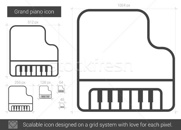 Piano de cola línea icono vector aislado blanco Foto stock © RAStudio
