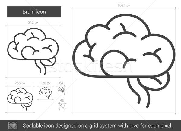 商业照片: 大脑 ·线· 图标 · 向量 · 孤立 ·白图片
