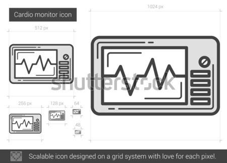 Cardio monitor linha ícone vetor isolado Foto stock © RAStudio