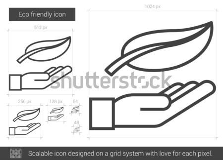 Photo stock: Respectueux · de · l'environnement · ligne · icône · vecteur · isolé · blanche