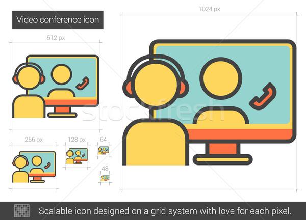 Video conference line icon. Stock photo © RAStudio