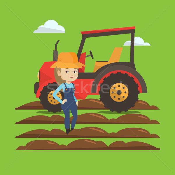 農家 立って トラクター 幸せ 女性 夏 ストックフォト © RAStudio