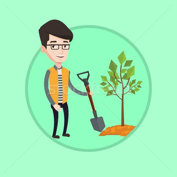 Man plants tree vector illustration. Stock photo © RAStudio