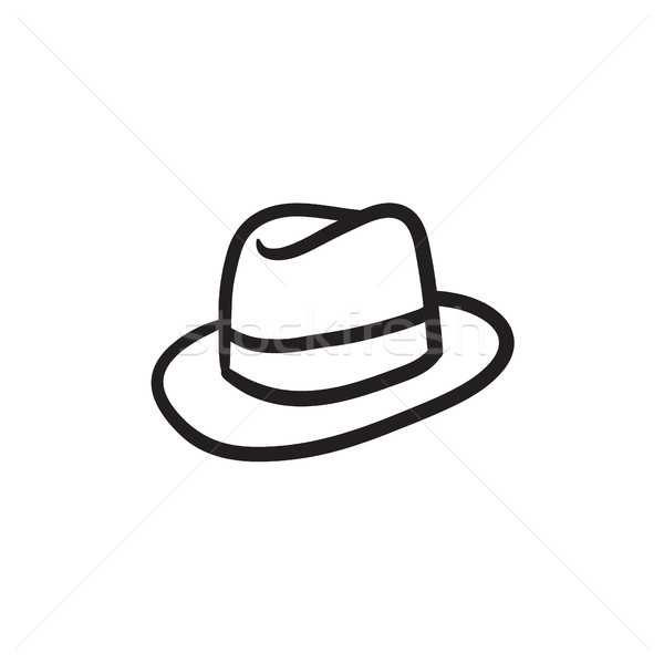 Fedora Hat sketch icona web mobile Foto d'archivio © RAStudio