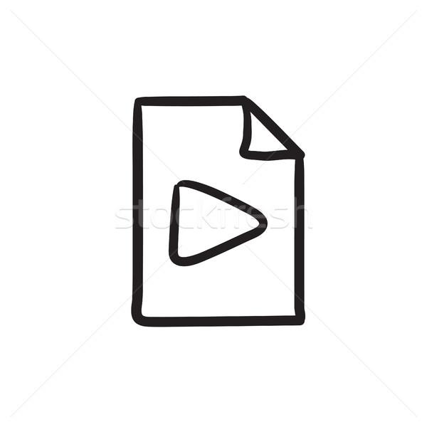 Audio pliku szkic ikona wektora odizolowany Zdjęcia stock © RAStudio