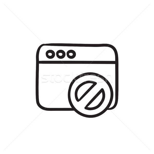 Navegador ventana no signo boceto icono Foto stock © RAStudio