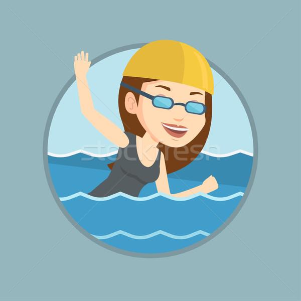 Mulher natação caucasiano boné óculos Foto stock © RAStudio