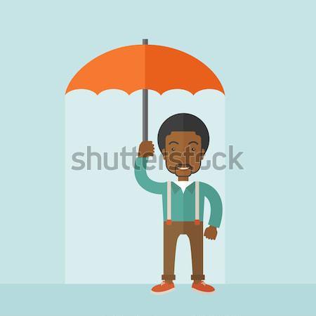 Insurance agent with umbrella vector illustration. Stock photo © RAStudio