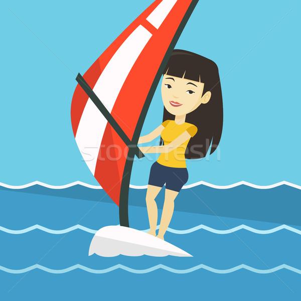 Fiatal nő windszörf tenger ázsiai nő nyár Stock fotó © RAStudio