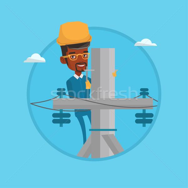 электрик рабочих электрических власти полюс работу Сток-фото © RAStudio