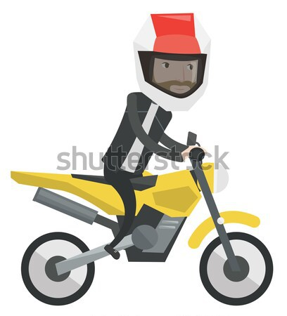 Young african-american man riding motorcycle. Stock photo © RAStudio