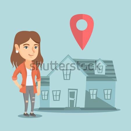 Pośrednik w sprzedaży nieruchomości domu Pokaż młodych Zdjęcia stock © RAStudio