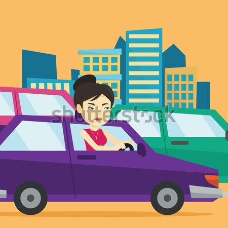 Angry caucasian woman in car stuck in traffic jam. Stock photo © RAStudio