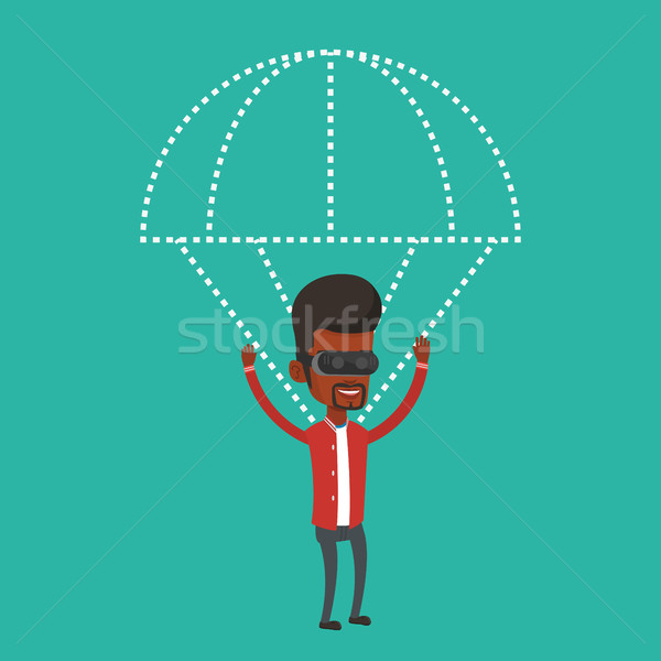 Happy man in vr headset flying with parachute. Stock photo © RAStudio