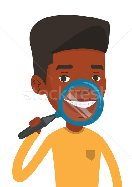 Man examining his teeth vector illustration. Stock photo © RAStudio