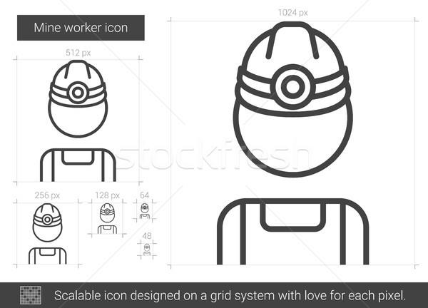 Mine worker line icon. Stock photo © RAStudio