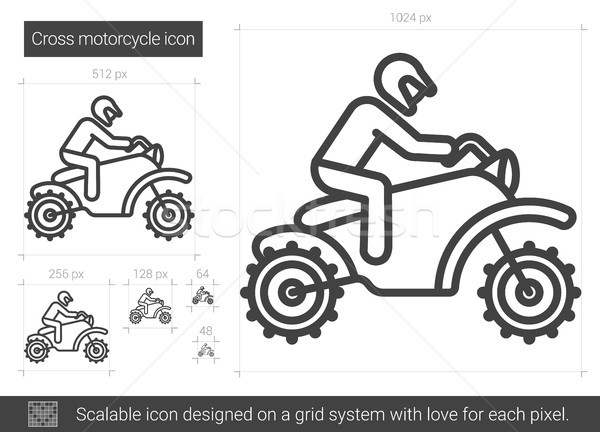 Stock photo: Cross motorcycle line icon.