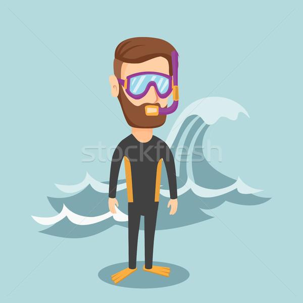 Jonge man baard duiken Stockfoto © RAStudio