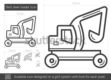 Skid steer loader line icon. Stock photo © RAStudio