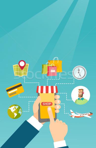 Manos teléfono compras iconos humanos Foto stock © RAStudio