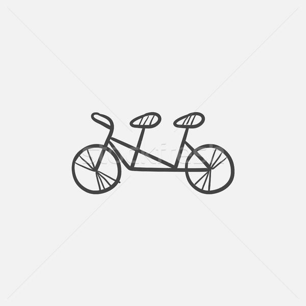 тандем велосипедов эскиз икона веб мобильных Сток-фото © RAStudio