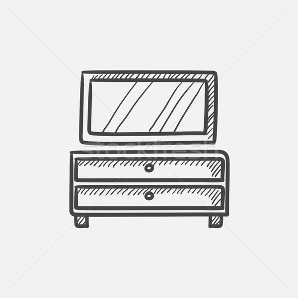 Chest of drawers with mirror sketch icon. Stock photo © RAStudio