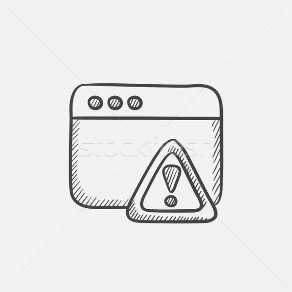 Navegador ventana boceto icono signo de admiración Foto stock © RAStudio