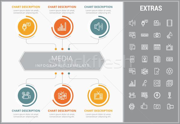 Media infographic template, elements and icons. Stock photo © RAStudio