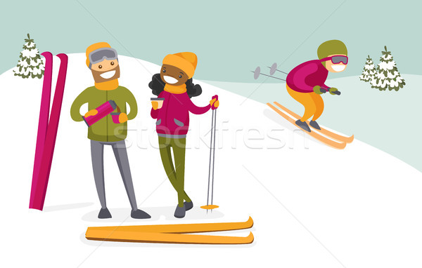 Multicultural couple drinking coffee at ski resort Stock photo © RAStudio