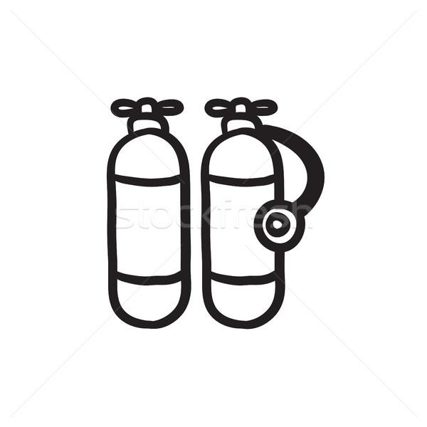 Oxigén tank rajz ikon vektor izolált Stock fotó © RAStudio