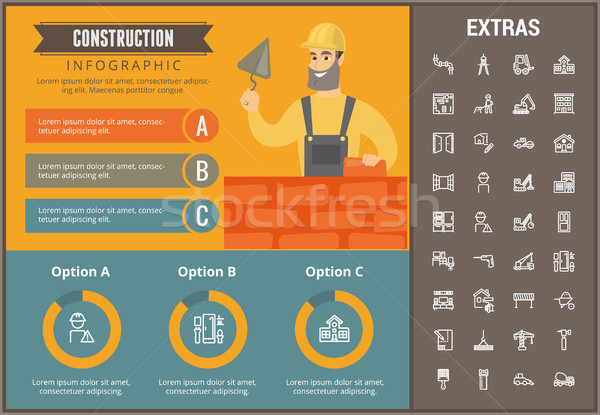 Stock photo: Construction infographic template and elements.