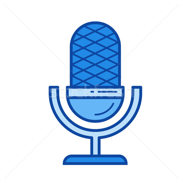 запись микрофона линия икона вектора изолированный Сток-фото © RAStudio