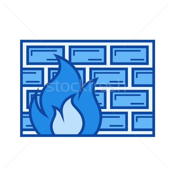 Firewall linha ícone vetor isolado branco Foto stock © RAStudio
