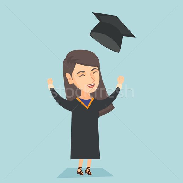 Kafkas mezun yukarı mezuniyet şapka Stok fotoğraf © RAStudio